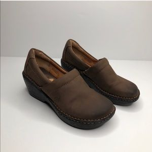 BORN Slip On Wedge Clog Shoes Brown Leather sz 7